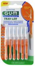 GUM® Trav-Ler® hambavaheharjad, silinder, 6tk komplektis 0,9 mm Oranz